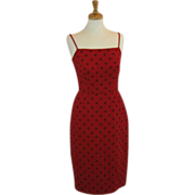 Vintage  Red madmen wiggle dress Late 1950's