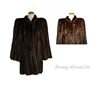 Elegant 1940's Sable dyed Marmot fur swing coat   Old Hollywood Glam!
