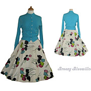 1950's Rockabilly Swing Turquoise Sweater and Full Circle Skirt Set