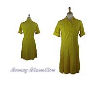 Vintage 1970's Miami Style Yellow Dropped Waist Dress