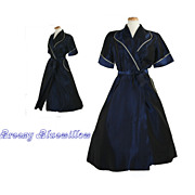 Vintage Cày Artley 1950's Navy & White Wrap-Around Dress