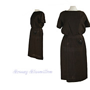 Vintage 1940's Rockabilly Brown & Black Day Dress