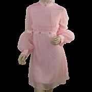 1970's Vintage Pink Chiffon Empire Mini Dress