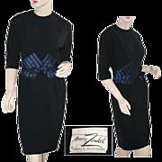 Murray Zenkel Black and Navy Vintage Wiggle Dress