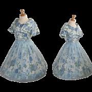Blue Floral 1950's Vintage Party Dress
