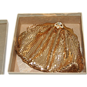 Whiting and Davis Vintage Gold Mesh Evening Bag with/Box