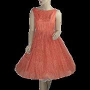 Salmon Lace 1950's Prom Dress with Matching Bolero Jacket