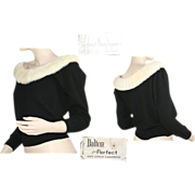 Dalton Black Cashmere Sweater With White Fur Collar 1950's