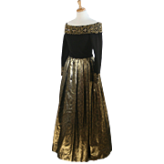 1960's Victoria Royal Ltd Beaded Evening Dress Gown