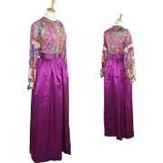 Vintage Gold and Magenta OOAK Evening Dress and Scarf with provenance