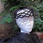 Vintage Black Velvet Cocktail Whimsy Hat Wreath with Velvet Dotted Veil