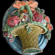 Vintage Cast Iron Floral Painted Door Knocker
