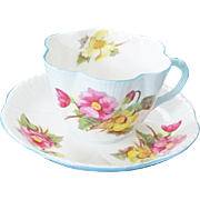 Shelley England Fine Bone China Teacup & Saucer - Begonia Dainty Fluted