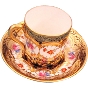 Pretty PARAGON Demitasse Teacup & Saucer - Cobalt w/ Gold & Flowers