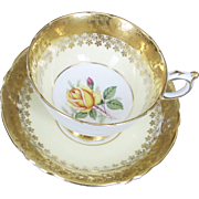 Lovely PARAGON Teacup & Saucer - Heavy Gold Border & Yellow Rose