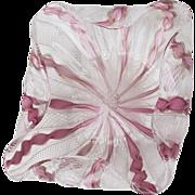 Murano Venetian Latticino & Ribbon Bowl - Pink w/Gold & White