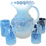 FAB Vintage White Opalescent Inverted Thumbprint Pitcher & 4 Tumblers