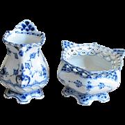 """Royal Copenhagen Blue Fluted Full Lace 5"""" Creamer & 3-1/4"""" Sugar"""