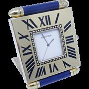 Cartier Desk Travel Folding Alarm Clock Lapis Lazuli for Lady /Gentleman (#5863)