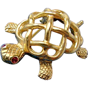 SALE Adorable Red Rhinestone Eyed NAPIER TURTLE Lapel Brooch c.1940's