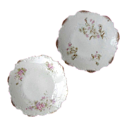 SALE Pair DRESDEN Germany's Embossed Porcelain Plates Gilded Floral circa 1896