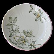 SALE Set 6 VICTORIAN BUTTER PATS Gilded Moss Green Floral Design circa 1800's