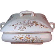 SALE STAFFORDSHIRE Gilded Brown Transferware Covered Server c.1900 Can You Find the Visitors?