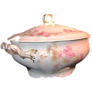 SALE Large LIMOGES' Soup or OYSTER TUREEN Pink Wildflowers by Wm. Guerin c.1900