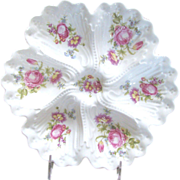 LIMOGES' Deep Well OYSTER Plate w/ Pink Dresden Style Flower Bouquets c.1900