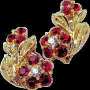 SALE LISNER's Eye-Catching Red Rhinestone Floral Earrings