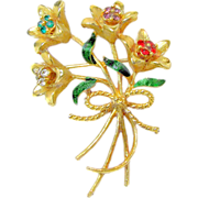 SALE DESIGNER's Realistic Jewel-tone Bouquet of Long Stem Flowers Brooch Rhinestones