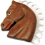 SALE Carved WOOD HORSE Head Brooch w/ Clear White LUCITE Mane c.1940's