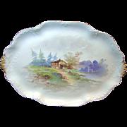 SALE LIMOGES' Handpainted Rural Scene Tray Charles Ahrenfeldt circa 1900