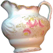 SALE LaBelle's Gilded LEMONADE PITCHER Pink Floral Transferware circa 1900