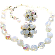 SALE VOGUE JEWELRY's Opalescent Glass Necklace w/ Rhinestone Accented Earrings c.1950's