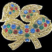 SALE Lacy 'n Golden CORO Rhinestone Bow Brooch w/ Earrings Des. Pat.Pend. c.1940's