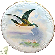 SALE Limoges France Art Nouveau Game Bird Plate Hand-painted by Listed Artist René c ...