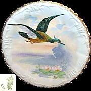 SALE Limoges France Art Nouveau Game Bird Plate Hand-painted by Listed Artist René c.1896