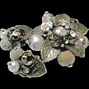 SALE DE MARIO's Rhinestone 'n Art Glass Set /w Layers of Antiqued Silver Filigree c.1950's