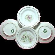 SALE Set of 8 Art Nouveau Pink ROSE Gilded BUTTER PATS - Austrian Porcelain c.1900