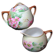 SALE Art Nouveau APPLE BLOSSOM Creamer & Sugar - Austrian Hand Painted Porcelain c.1899-1918