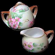SALE APPLE BLOSSOM Creamer & Sugar Austrian Hand Painted Porcelain circa 1899-1918