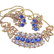 SALE Mid-Century Sapphire Blue Rhinestone Necklace w/ Earrings Floral in Design