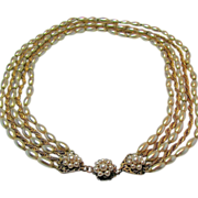 SALE Classic MIRIAM HASKELL Glass PEARL 5-Strand Necklace w/ Russian Gilt Chain c.1950's