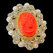 SALE NETTIE ROSENSTEIN's Hi-Relief Glass Coral Cameo Brooch Rhinestones Faux Pearls circa 1950