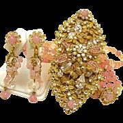 SALE Vintage MIRIAM HASKELL Necklace w/ 4 Inch Drippy Centerpiece of Pink PATE de VERRE ...