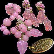 SALE Rare Vintage MIRIAM HASKELL Pink Pressed Pâte de Verre 'n Glass Pearl Bracelet w/ Earrin