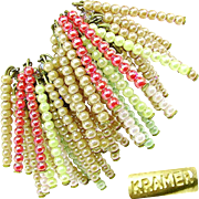 SALE Vintage Kramer Designer Statement Earrings of Iridescent Pastel Glass c.1970's