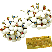 SALE Vintage MIRIAM HASKELL PATRIOTIC Earrings of Red, White 'n Blue Rhinestones w/ Baroque ..