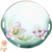 SALE Art Nouveau Hand-Painted German Open Handled TRAY w/ PINK FLOWERS c.1900